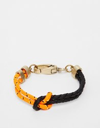 Icon Brand Split It Leather Mix Bracelet Orange