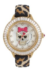Betsey Johnson Women's Crystal Skull Leopard Print Leather Strap Watch Multi