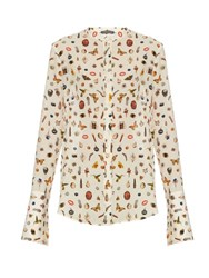 Alexander Mcqueen Obsession Print Silk Blouse Cream Multi