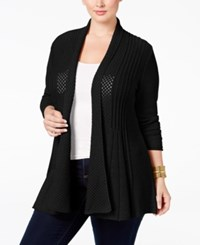 Ny Collection Plus Size Pointelle Knit Duster Cardigan Black