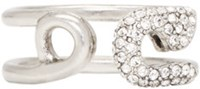 Marc Jacobs Silver And Crystal Safety Pin Ring