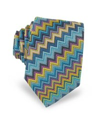 Missoni Diagonal Zig Zag Woven Silk Men's Narrow Tie Blue