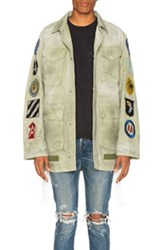 Off White Patches Field Jacket In Green