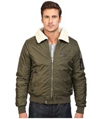 Members Only Military Bomber Jacket With Sherpa Collar Green Men's Coat