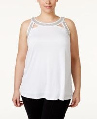 Inc International Concepts Plus Size Embellished Halter Top Only At Macy's Bright White