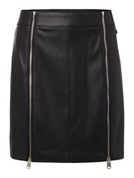 Replay Faux Leather Short Skirt With Zip Black