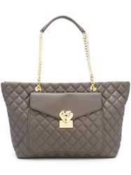 Love Moschino Quilted Tote Grey