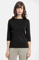 Ming Wang Three Quarter Sleeve Crewneck Knit Shell Black