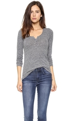 Stateside Marled Henley Heather Grey