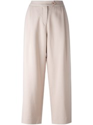 Chinti And Parker Twill Cropped Trousers Pink And Purple
