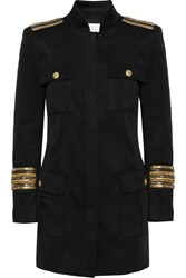Balmain Pierre Chain Embellished Stretch Twill Jacket Black