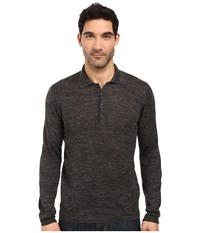 7 For All Mankind Long Sleeve Polo Sweater Dark Charcoal Men's Sweater Gray