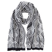 Mint Velvet Cable Scarf Black Cream