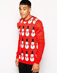 Asos Christmas Jumper With Snowman Design Red