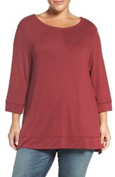 Caslonr Plus Size Women's Caslon Three Quarter Sleeve Modal Blend Knit Top Red Cordovan