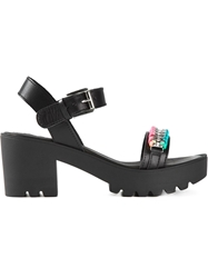 Love Moschino Ridged Sole Chain Embellished Sandals Black