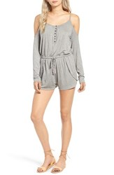 Rip Curl Women's Stevie Crochet Back Cold Shoulder Romper Heather Grey