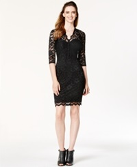 Karen Kane Three Quarter Sleeve Lace Sheath Black