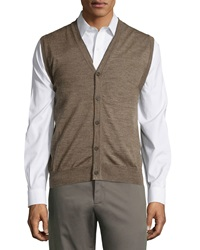 Neiman Marcus Button Front V Neck Sweater Vest Brown