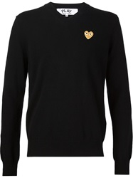 Comme Des Garcons Play Embroidered Heart Sweater Black