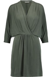 Tart Collections Constance Wrap Effect Washed Poplin Mini Dress Gray Green
