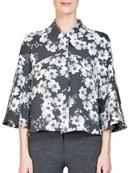 Erdem Sukie Cropped Floral Print Jacket Black White