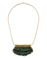 Serefina Feather Mesh Bib Necklace Green
