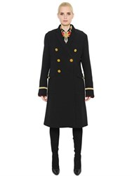 Givenchy Double Breasted Wool And Velvet Coat