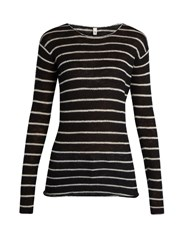 R 13 Long Sleeved Striped Cashmere Sweater Black White