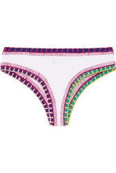 Kiini Yaz Crochet Trimmed Bikini Briefs White Purple