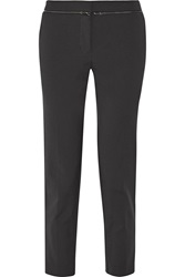 Rebecca Taylor Zip Detailed Cotton Blend Crepe Tapered Pants