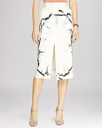 Halston Heritage Feather Scarf Print Front Slit Midi Skirt Dark Bone Feather Scarf Print