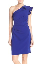 Women's Carmen Marc Valvo Infusion One Shoulder Ruched Crepe Sheath Dress