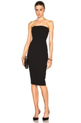Victoria Beckham Matte Crepe Corset Fitted Dress In Black