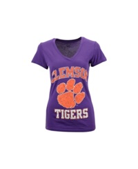 Soffe Women's Clemson Tigers V Neck T Shirt Purple