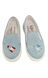 Del Toro Leather Astronaut And Rocket Slip On Sneakers Multi