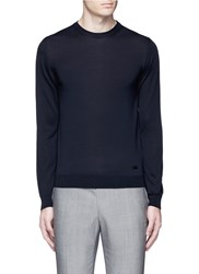 Armani Collezioni Wool Crew Neck Sweater Blue