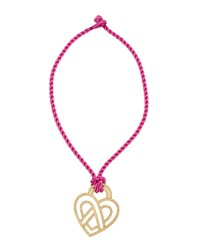 Poiray Wire Heart 18K Diamond Pendant Necklace On Pink Cord