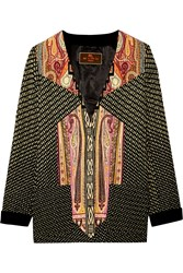 Etro Printed Ribbed Satin Jacket Black