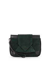 Dannijo Rocha Printed Leather Clutch Petrol Green