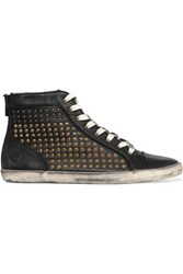 Frye Kira Studded Textured Leather High Top Sneakers Black