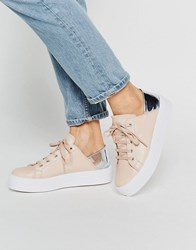 Asos Downtown Lace Up Flatform Trainers Nude And Silver Beige