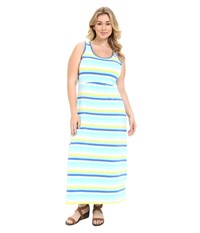 Columbia Plus Size Reel Beauty Ii Maxi Dress Coastal Blue Multi Stripe Women's Dress