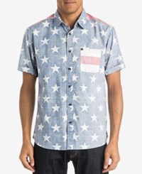 Quiksilver Men's Merican Star Print Short Sleeve Shirt Red White Blue