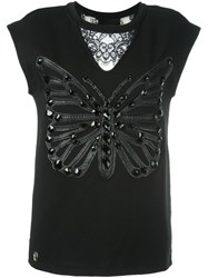 Philipp Plein Butterfly Patch Tank Top Black