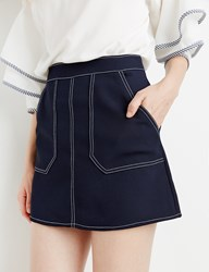Pixie Market Navy Stitched Mini Skirt