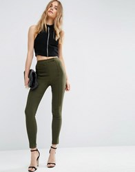 Asos High Waist Trousers In Skinny Fit Forest Green