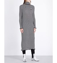 Keji Turtleneck Ribbed Knit Dress Silver Black