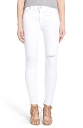 Women's 7 For All Mankind Destroyed Ankle Skinny Jeans Clean White
