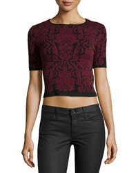 Romeo And Juliet Couture Floral Print Knit Crop Top Black Ox Blood